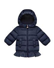 Moncler New Azinza Baby Girls Peplum Puffer Down Jacket - Navy Blue - 6-9 Mo