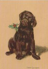 Brown Chocolate Labrador  Dog Cute Puppy Painting Christmas Xmas Card