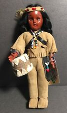 Vintage Carlson Native American Doll w/ Leather Clothes & Drum Doll No. 12-21