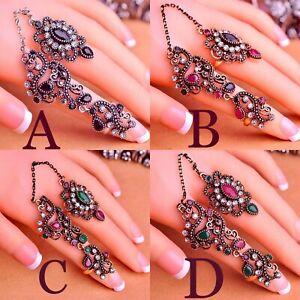 **EID SALE** 3-Ring Chain Mughal Indian Costume Jewellery Adjustable Rings
