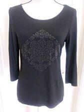 White House Black Market Medium 3/4 Sleeve Embellished Pullover Top EUC