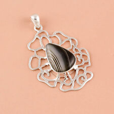 925 Solid Sterling Silver Pendant, Natural Gemstone Botswana agate jewelry DJ252
