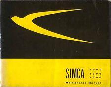 SIMCA 1000 1300 1500 manuale di manutenzione 1965 in inglese PUB. da olyslager