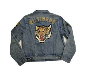 Polo Ralph Lauren RL Tigers Varsity P Patch Denim Jean Jacket New W/Tags Men's M