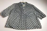 East 5th Women's ¾ Sleeve Button Up Shirt 2X Plus Black White Circles Geometric