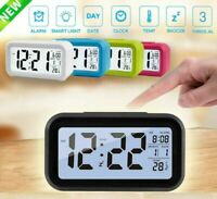 Portable Electronic Alarm Clock Small LED Digital Clock Snooze Bedside Table New