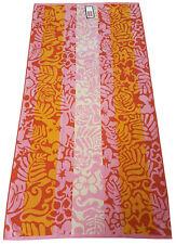 BEACH TOWEL TRUPICAL LEAVES FLOWER PINK ORANGE LINE JUMBO BATH SHEET 100% COTTON