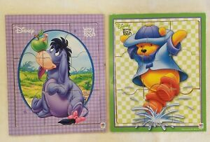 Lot of 2 MB 9pc Woodboard Puzzles - Disney Winnie the Pooh and Eeyore