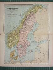 1869 ANTIQUE MAP ~ SWEDEN & NORWAY WITH DENMARK ~ JONKOPING GOTTLAND