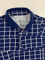 Men's Armani Exchange A/X Blue Geometric Polo Shirt Size Medium