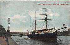 uk17079 traning ship from embankment   uk london ship bateau