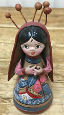 Nativity Creche Mexican Pottery Terra Cotta Handpainted Virgin Mother Mary #E