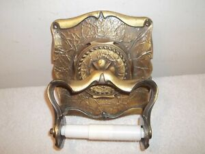 Vtg Amerock Carriage House Wall Mount Toilet Paper Holder Antique Brass