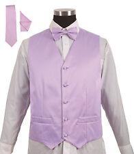 Men's 4 Piece Tuxedo Vest Set with Bow tie, Handkerchief and Tie 16 colors V004