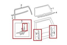 For Rear Back Window Regulator Guide Rails & Bracket Kit OES for Toyota Sequoia