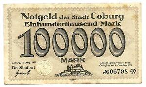 Germany Coburg 100,000 Mark 1923 VF