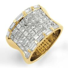 3.50 Ct Princess Baguette Diamond F Vs2 Anniversary Ring Band 14k Yellow Gold