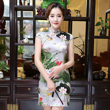 Sexy Womens short mini Chinese dress Slim party Improved cheongsam Qipao M-3XL
