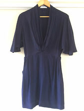 Finders Keeper Navy Square Sleeve Gather Neckline Flattering Dress/Size S – ExC
