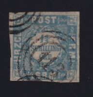 Germany Schleswig-Holstein Sc #17 (1864) 1&1/4s blue & grey Used 113 Numeral