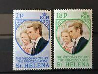 St Helena 1973 Wedding Of HRH The Princess Anne 2 stamp set MNH