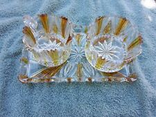 Cut To Clear Glass Amber 3 Piece Service Tray
