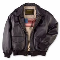 Leather++ Men's Air Force A-2 Leather Flight Bomber Jacket -FREE DELIVERY