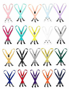 Men's SUSPENDERS Y Shape Back Elastic Button & Clip Convertible Solid Colors