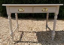 PAINTED VICTORIAN STYLE SOLID OAK  DESK WITH LEATHER INLAY IN PURBECK STONE F&B