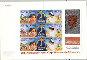 Micronesia #150 Kennedy, Peace Corps 3v Strips of 5 on 1v Imperf Proof Mounted