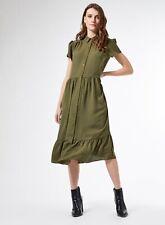 Dorothy Perkins Womens Green Smock Midi Shirt Dress Short Sleeve Buttons Collar