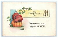 Postcard On Thanksgiving Day Greeting Turkey sitting on Pumpkin wishbone G8