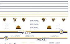 Aurora - Colorado -Utah Police 1/64th HO Scale Slot Car Waterslide Decals