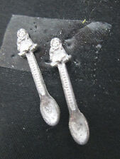 2 Dollhouse Miniature Unfinished Metal Decorative Doll Spoon