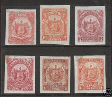 Salvador Mng. 1895 imperf Proofs of unissued set 6 diff