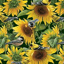 Fabric Wild Birds in Sunflower Field on Green Cotton by the 1/4 yard BIN