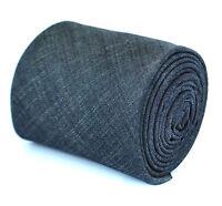 Frederick Thomas plain navy blue textured linen tie FT1967