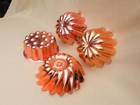 4 Copper-tone Round Food Molds / Wall Hangings / Cake Pans, 3.5-4 cups, vintage