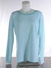 NWT Splendid Aqua Mini Stripe Women's XL Long Sleeve Shirt Button Back Top NEW