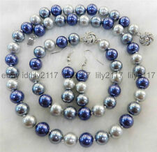 Pretty 8mm Blue silver gray South Sea Shell Pearl  Necklace Bracelets Earrings