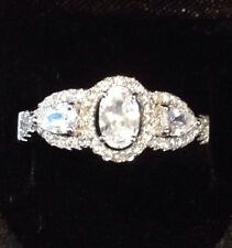 STUNNING WHITE CUBIC ZIRCONIA RING SET IN STERLING SILVER, SZ 8