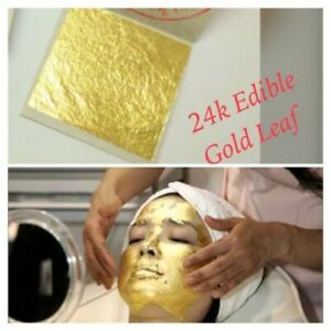 24K 100% Pure Gold Leaf  4x4 cm Facial Mark Treatment for Anti Wrinkle.