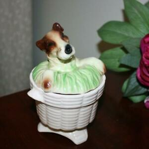 Price Bros Pottery UK Airedale Terrier Sugar /Jam Bowl ...Enchanting and Rare !!