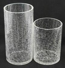 Clear Cylinder Crackle Glass Flower Vase Floral Display Home Decor Set of 2