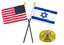 "Israel w/ USA American Flag 4""x6"" Desk Set Table Stick Gold Base"