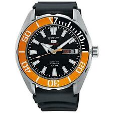Seiko 5 Sports Black Silicone Orange Bezel Automatic Men Watch SRPC59K1