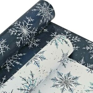 TOM SMITH Christmas Paper Luxury (2 x 4m) Gift Wrap Rolls Blue AND White W504