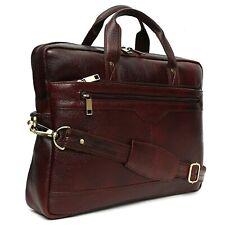 Genuine Leather Brown 15.6 inch Unisex Laptop Messenger Cross Body Bag Men Women