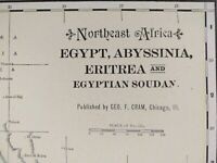 "Vintage 1903 EGYPT ABYSSINIA ERITREA Atlas Map 14""x22"" ~ Old Antique CAIRO"