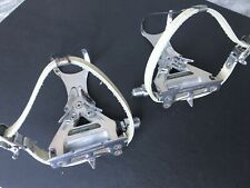 New listing Shimano 600 Tri Color Pedals 6400 80s Road Bike W/Clips Leather Straps Exc Cond